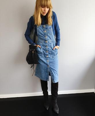 look de pernille blogger dress bag denim dress denim shirt denim spring outfits