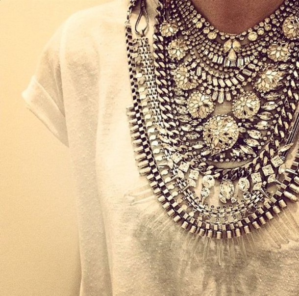 Jewels: necklace, silver statement necklace, cute ...