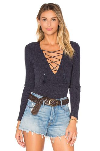 bodysuit lace navy