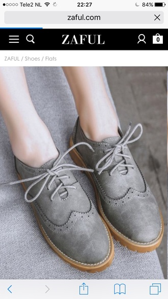 shoes oxfords trendy grey taupe lace up zaful