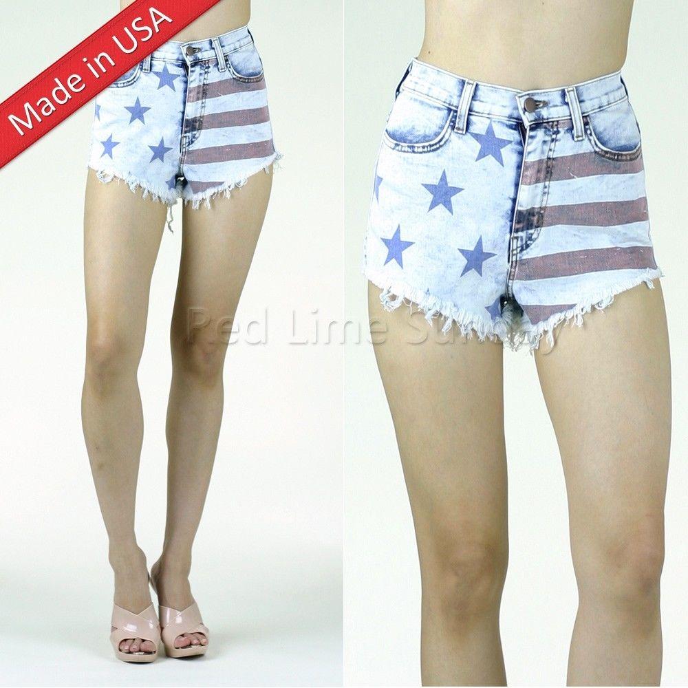 US American Flag Print Acid Wash Denim Cut Off Frayed Mini Hot Pants Jean Shorts