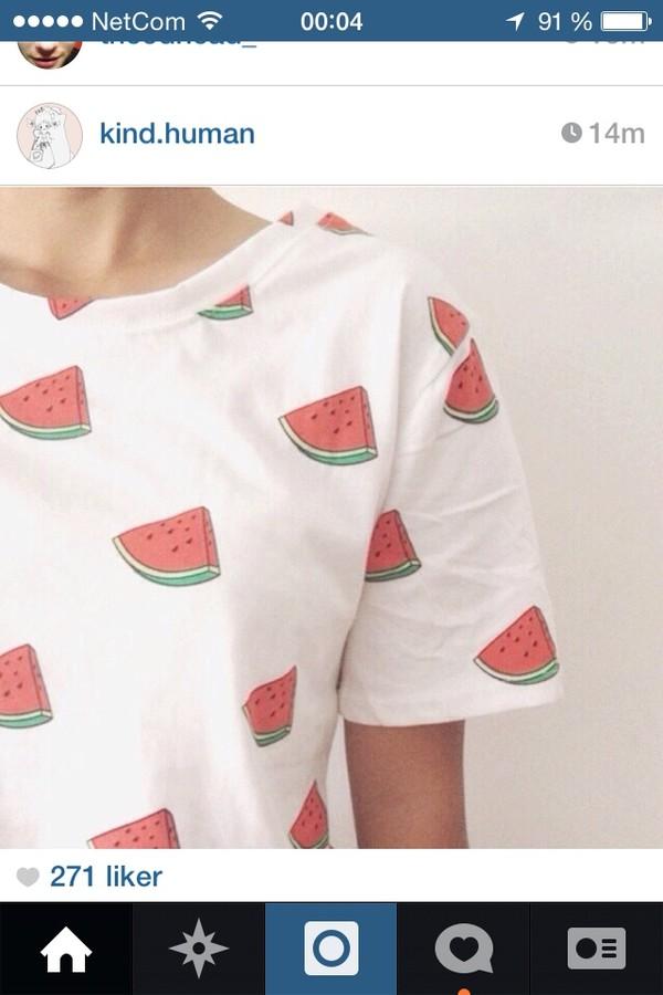shirt watermelon print watermelon shirt cute rad radical sassy white lovely love