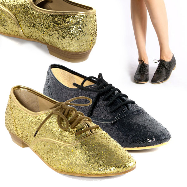 Womens Shoes Gold Black Glitter Shiny Lace Up Flat Oxford Ankle Bootie Loafers | eBay