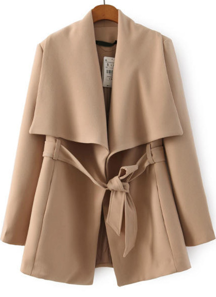 Lapel belted apricot coat