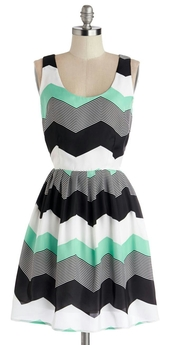 dress,pattern,green black and white dress,chevron,chevron dresses,mint,black,white,zigzag dress,shoes