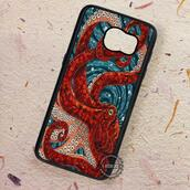 phone cover,red,octopus,mosaic,samsung galaxy cases,samsunggalaxys4,samsunggalaxys5,samsunggalaxys6,samsunggalaxys6edge,samsunggalaxys6edgeplus,samsunggalaxynote3,samsunggalaxynote5,samsunggalaxys7,samsunggalaxys7edge,samsunggalaxys7edgeplus