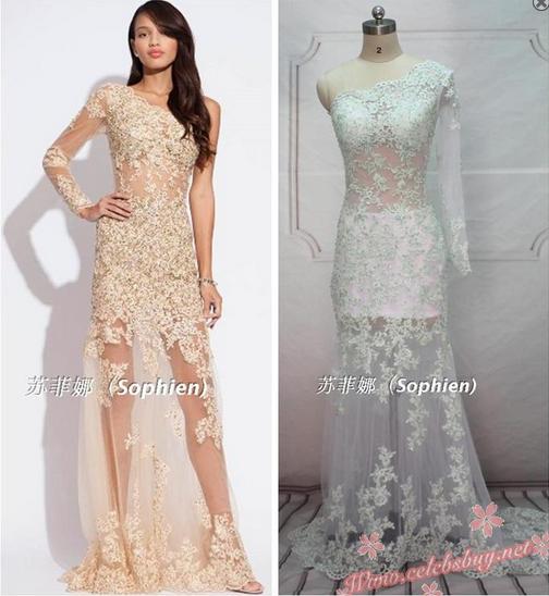 Celebrity prom dress: Celebrity white lace one shoulder prom dress $159.99 each at Celebsbuy.net