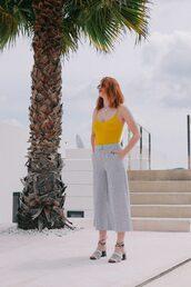 top,yellow top,pants,stripes,wide leg pantss,sunglasses