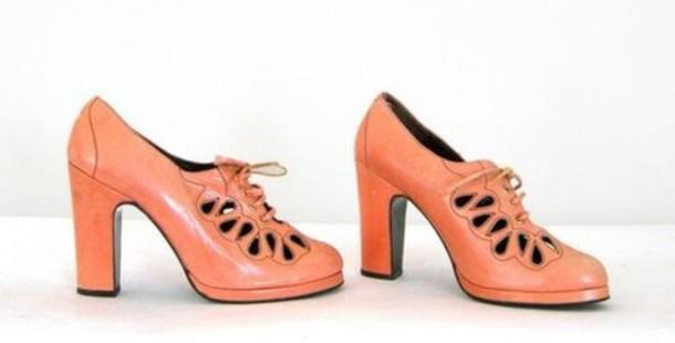 pumps medium heels leather orange shoes