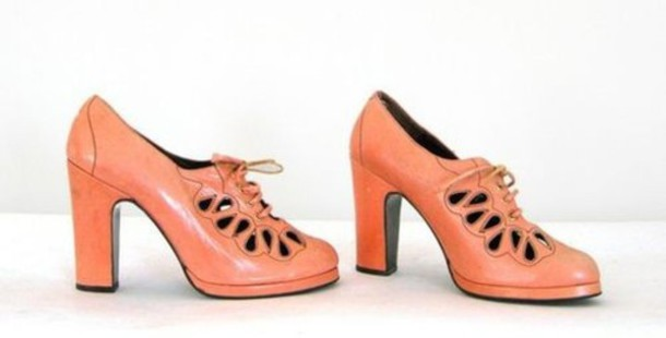 pumps medium heels leather orange shoes