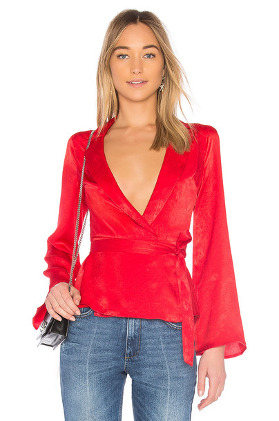 L'Academie blouse red top
