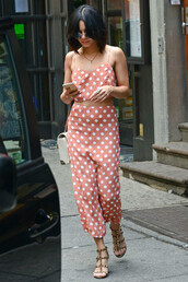 pants,top,crop tops,polka dots,vanessa hudgens,sandals,shoes,polka dots capri pants,polka dot pants,peach pants,high waisted pants,culottes,cropped pants,polka dot top,gladiators,studded shoes,celebrity style,celebrity,sunglasses,round sunglasses