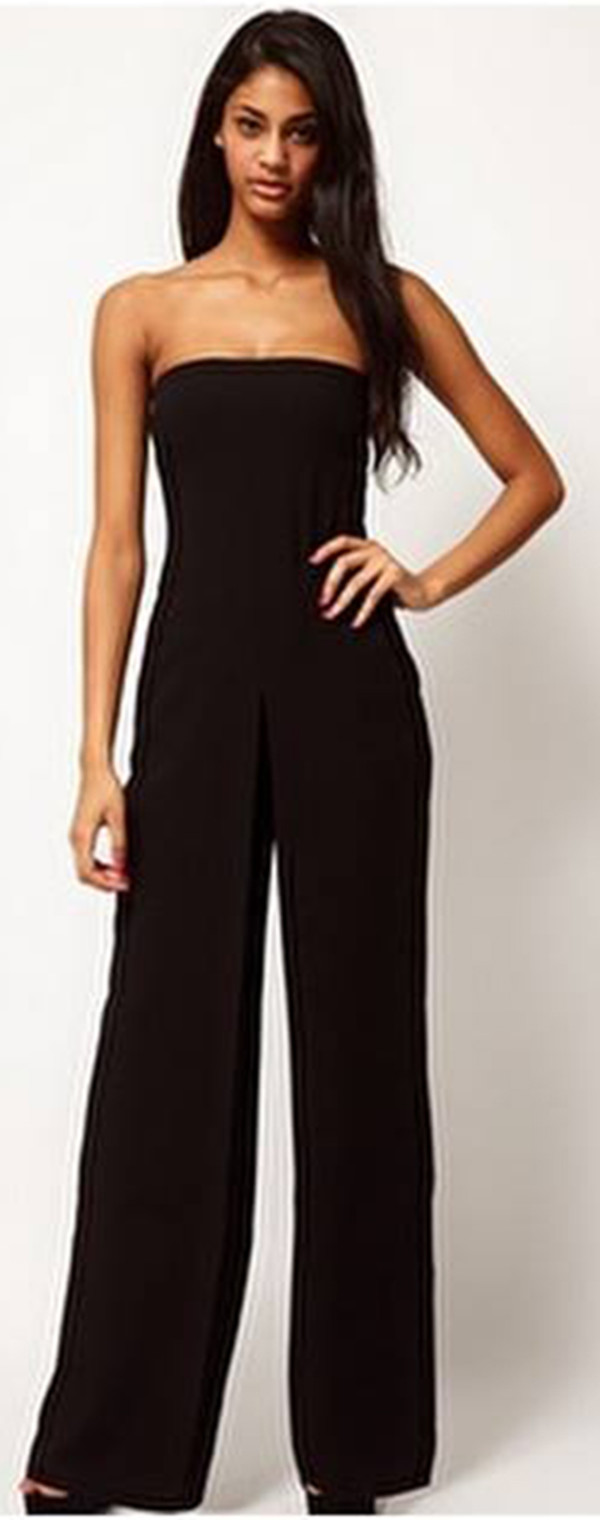 ASOS Bandeau Jumpsuit In Crepe UK 16 Black RRP £50 | eBay