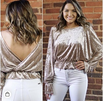 shirt velvet open back cropped gold