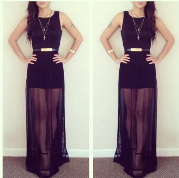 dress maxi dress black dress black maxi dress transparent belt clothes transparence black sexy dress gold belt no sleeves long dress black black dress skirt that splits