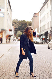 shoes,high heels,marine,blue high heels,trench coat,streetstyle,street,striped shirt,jeans,stilettos,clothes,everyday wear,tumblr outfit,tumblr shoes,pinterest,fashion,coat,top,pants,black stilettos