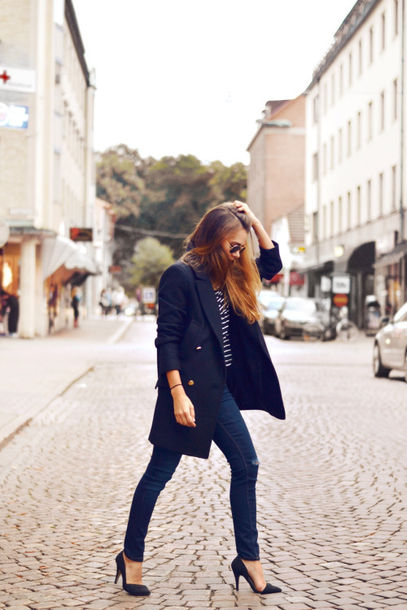 shoes high heels high heels marine blue high heels trench coat trench coat streetstyle street striped shirt jeans stilettos clothes everyday wear tumblr outfit tumblr shoes pinterest fashion coat top pants black stilettos