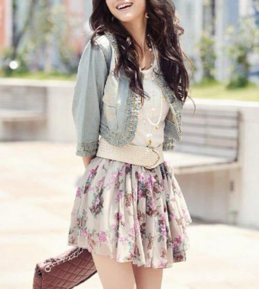 floral skirt skirt jacket blouse floral spring skater skirt Belt dress studded jacket white dress white belt