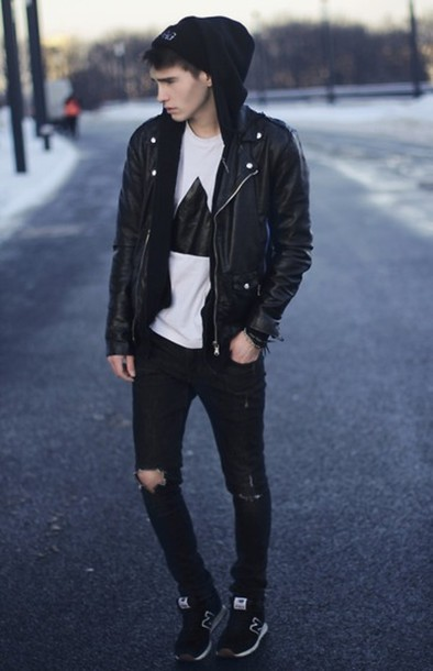 T-shirt: black and white, mens ripped jeans, jacket, leather ...