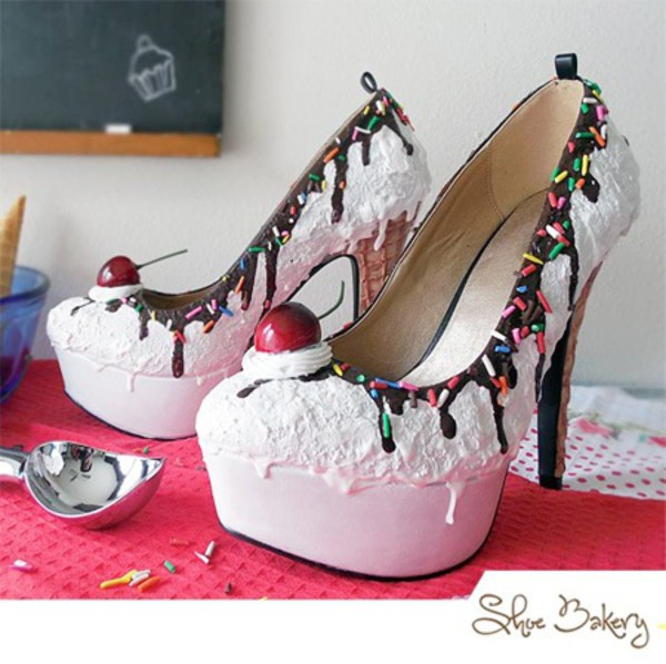 high heels ice cream white shoes