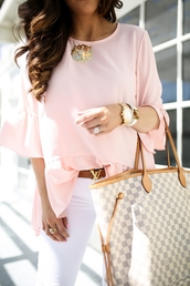 jewels,top,tumblr,watch,gold watch,pink top,bell sleeves,denim,jeans,white jeans,belt,logo belt,bag,tote bag,necklace,gold necklace