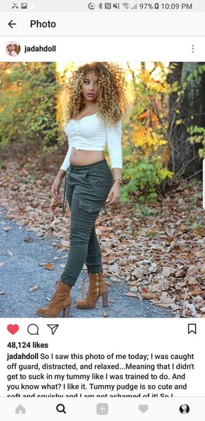 pants army green blouse