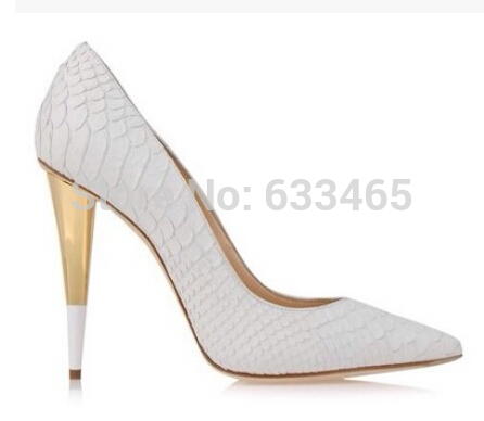 com : Buy sexy white/ black snake leather high gold heels for ...
