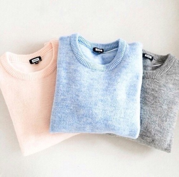 shirt grey t-shirt style sweater light blue blue sweater lavender.natalie portman knitwear knitted sweater cute winter sweater wool wool sweater grey sweater pink light pink pink knit sweater