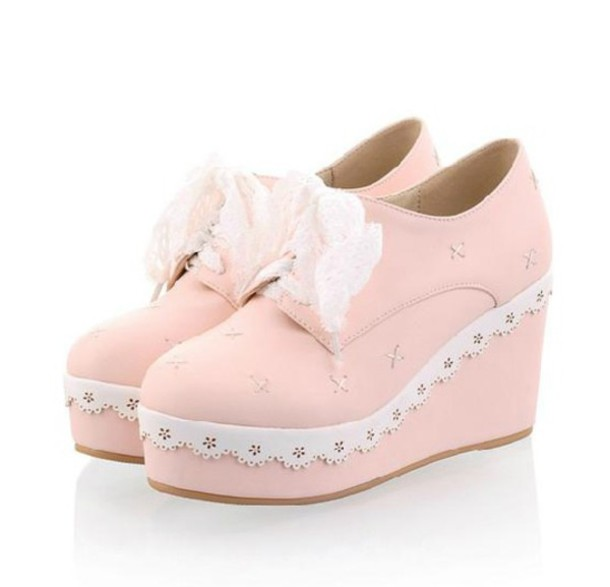 shoes kawaii shoes platform shoes pastel pink pastel kawaii harajuku pink lace frill bow cute platform shoes