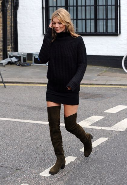 Low Heel Over The Knee Boots - Cr Boot