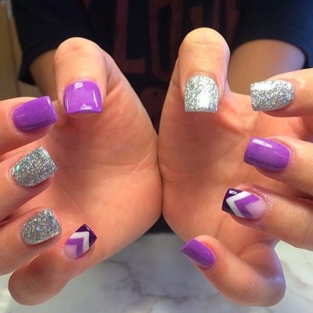 nail accessories silver nails purple nails