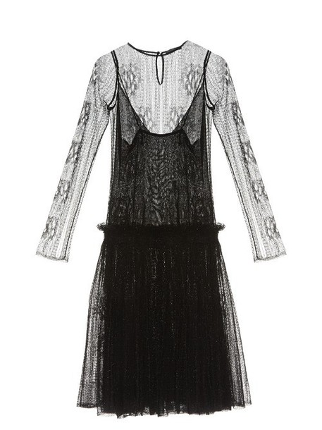 ALEXANDER MCQUEEN Drop-waist lace dress in black
