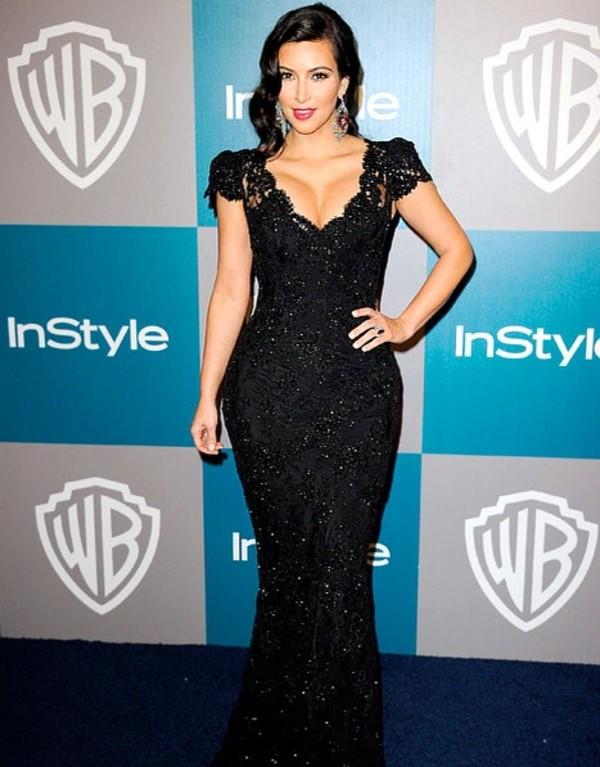 dress kim kardashian beautiful sparkle lace dress lace cute pretty black black dress long dress prom tight slim curvy boobs cleavage glitter