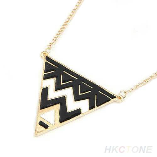 Vintage Unique Jewelry Charm Gold Metal Necklace Triangle Pendant Chain Fun B37K | eBay
