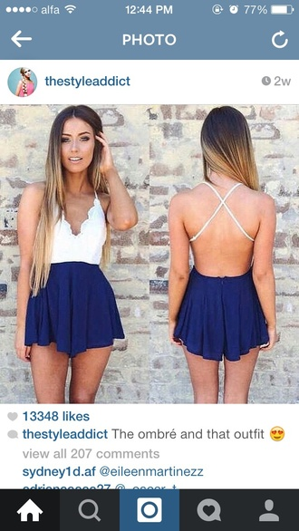 romper navy overalls summer wear style