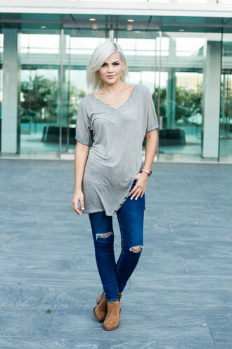 wild one forever - fashion & style by kristin blogger jeans shoes jewels grey top ripped jeans skinny jeans brown boots
