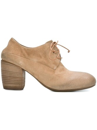 heel wood shoes lace-up shoes lace nude