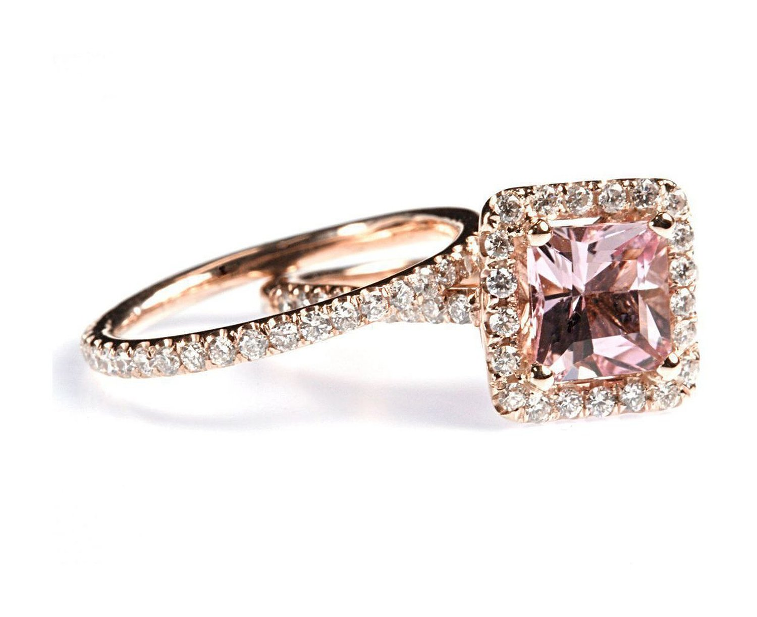Amazon.com: 1.87 cttw 18k Rose Gold Diamond Morganite Engagement Ring Pink Wedding Ring Sets (Sizes 4-11): Pricegems: Jewelry