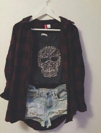 shirt black white flannel red goth emo lace paisley girl outfit