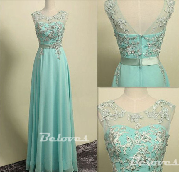 dress light green chiffon prom dress lace appliques prom dresses
