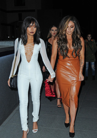 dress leigh-anne pinnock little mix jesy nelson midi dress jumpsuit white pants lace up plunge v neck