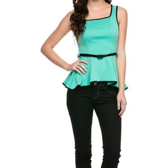 chic cute classy blouse mint color shirt peplum top trendy appealingboutique