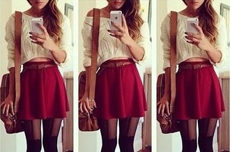 sweater red skirt cute sweater skirt bag