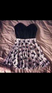 dress,skirt,black crop top,shirt,bird skirt,black and white,top,birds skirt,pink skirt,jacket,t-shirt,white skirt,birds