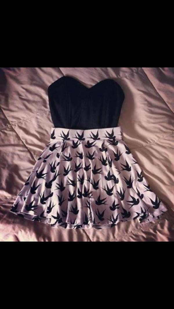 dress skirt black crop top shirt bird skirt black and white top birds skirt pink skirt t-shirt white skirt birds
