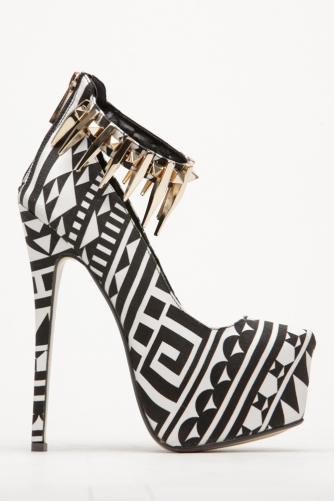 Alejandra Beyaz Tribal Print Metallic Stud Ankle Strap Almond Toe Pumps @ Cicihot Heel Shoes online store sales:Stiletto Heel Shoes,High Heel Pumps,Womens High Heel Shoes,Prom Shoes,Summer Shoes,Spring Shoes,Spool Heel,Prom Pumps,High Heel Sandals