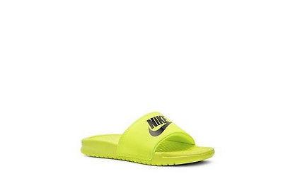 Boys Nike Benassi JDI Toddler & Youth Slide Sandal Neon Yellow NEW IN BOX