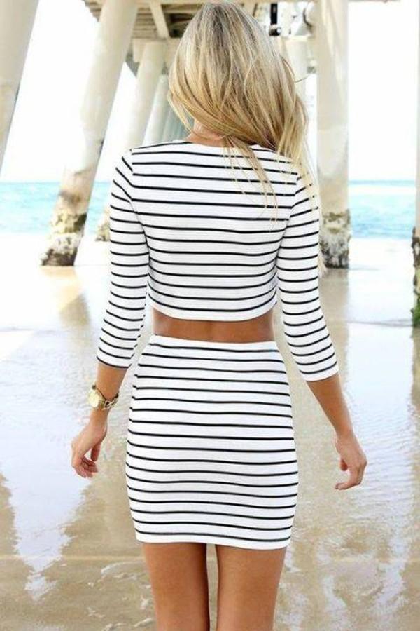 skirt cream black stripes white crop tops