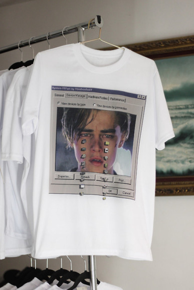 t-shirt t shirt white crying leonardo dicaprio