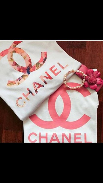 t-shirt t-shirt chanel floral chanel pink